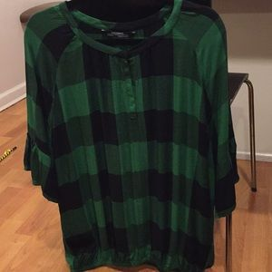 Zara 3/4 sleeves top.. green/black plaid..